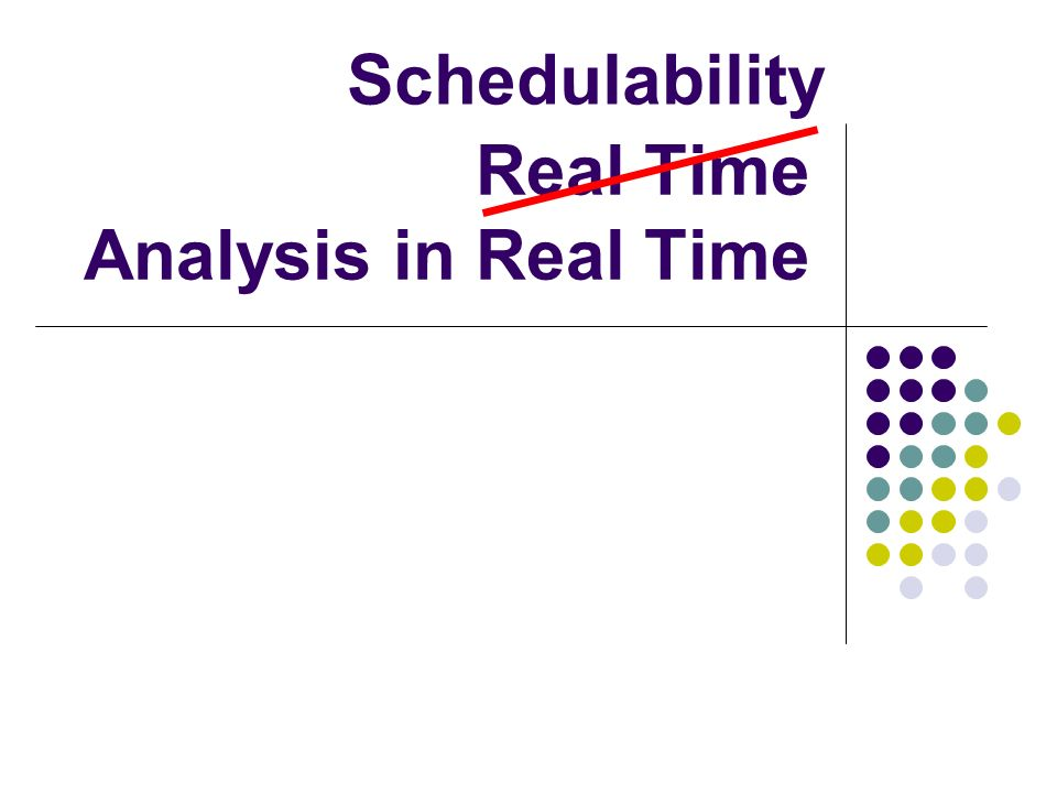 Real Time Analysis in Real Time