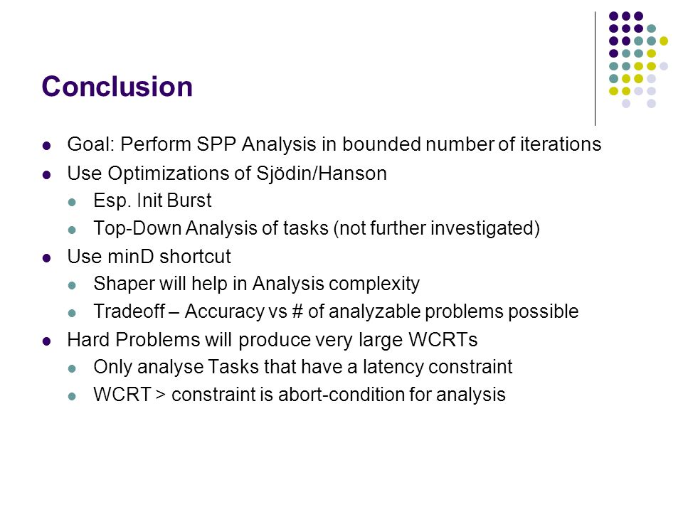 Conclusion Goal: Perform SPP Analysis in bounded number of iterations