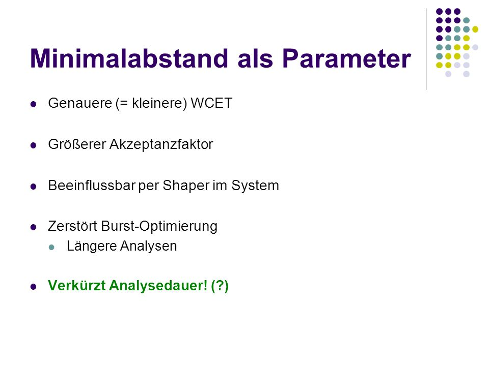 Minimalabstand als Parameter