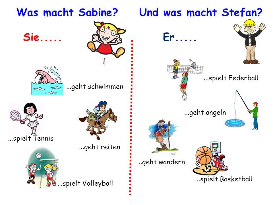 Was macht Sabine Und was macht Stefan Sie..... Er.....