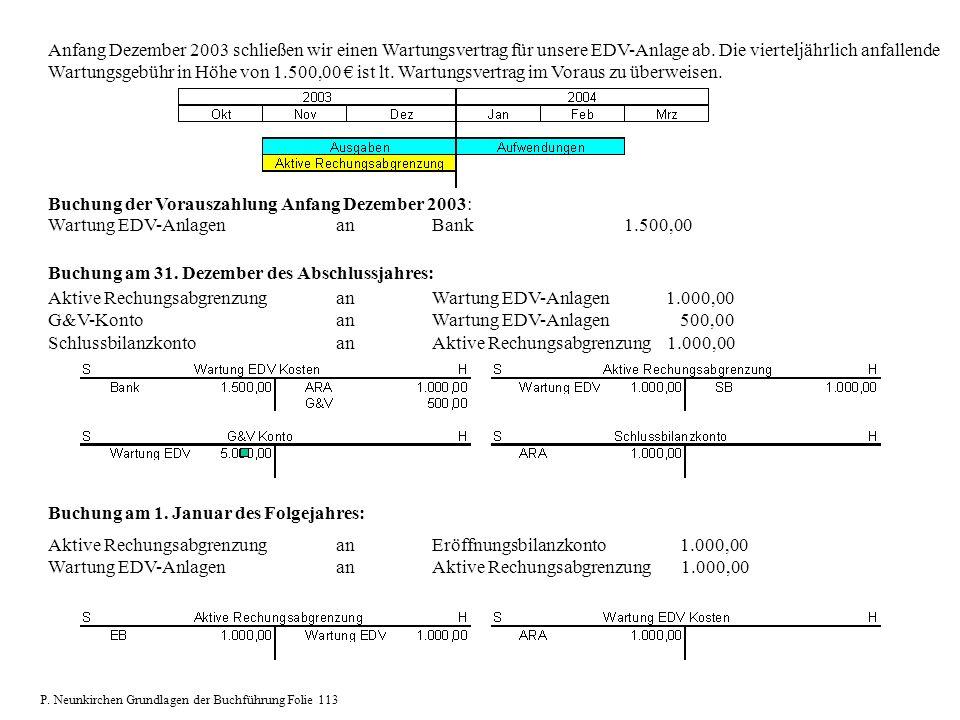 Buchung der Vorauszahlung Anfang Dezember 2003: