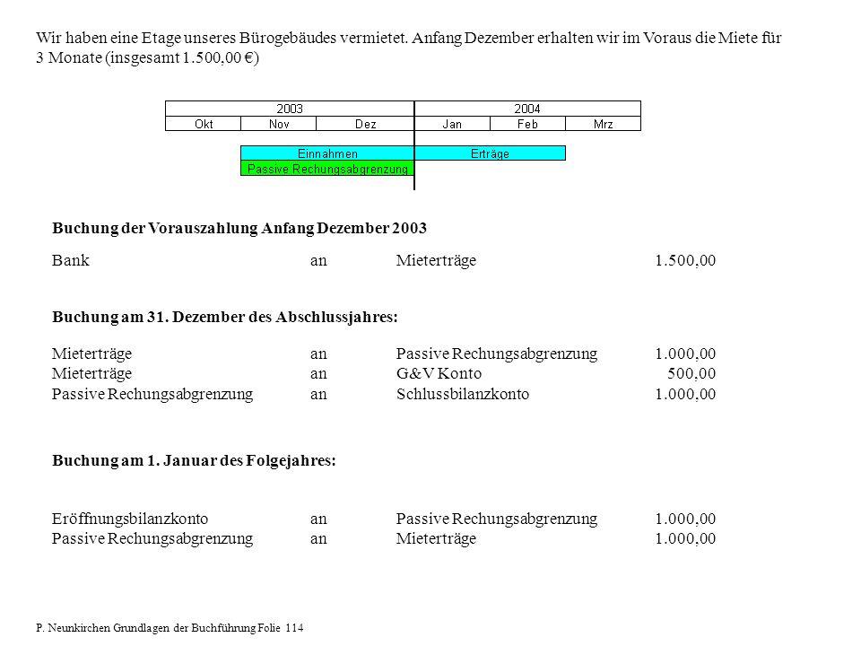 Buchung der Vorauszahlung Anfang Dezember 2003