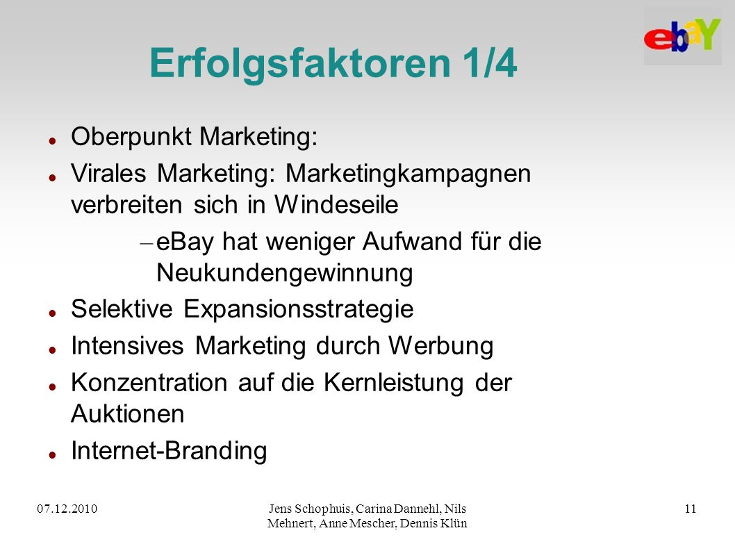 Erfolgsfaktoren 1/4 Oberpunkt Marketing: