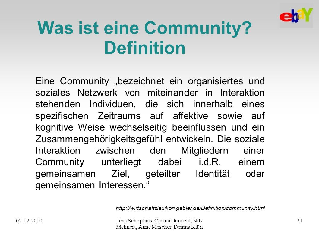 Was ist eine Community Definition