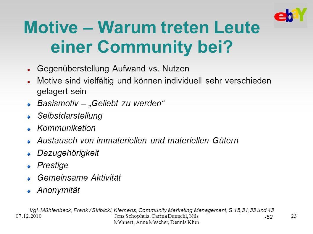 Motive – Warum treten Leute einer Community bei