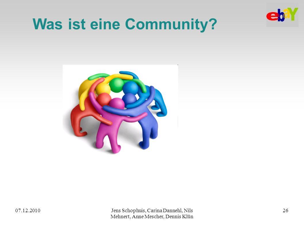 Was ist eine Community. 07.12.2010.