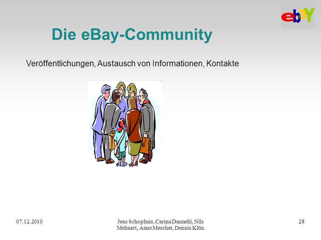 Die eBay-Community Veröffentlichungen, Austausch von Informationen, Kontakte. 07.12.2010.