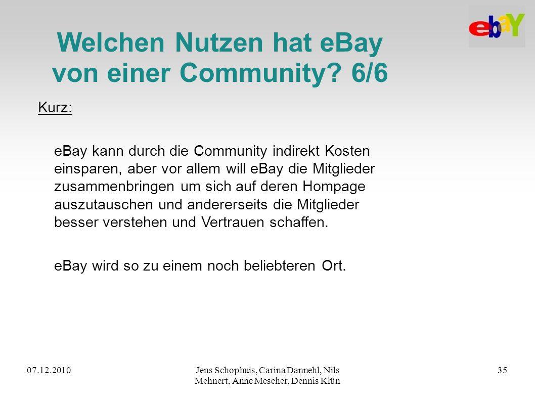 Welchen Nutzen hat eBay von einer Community 6/6