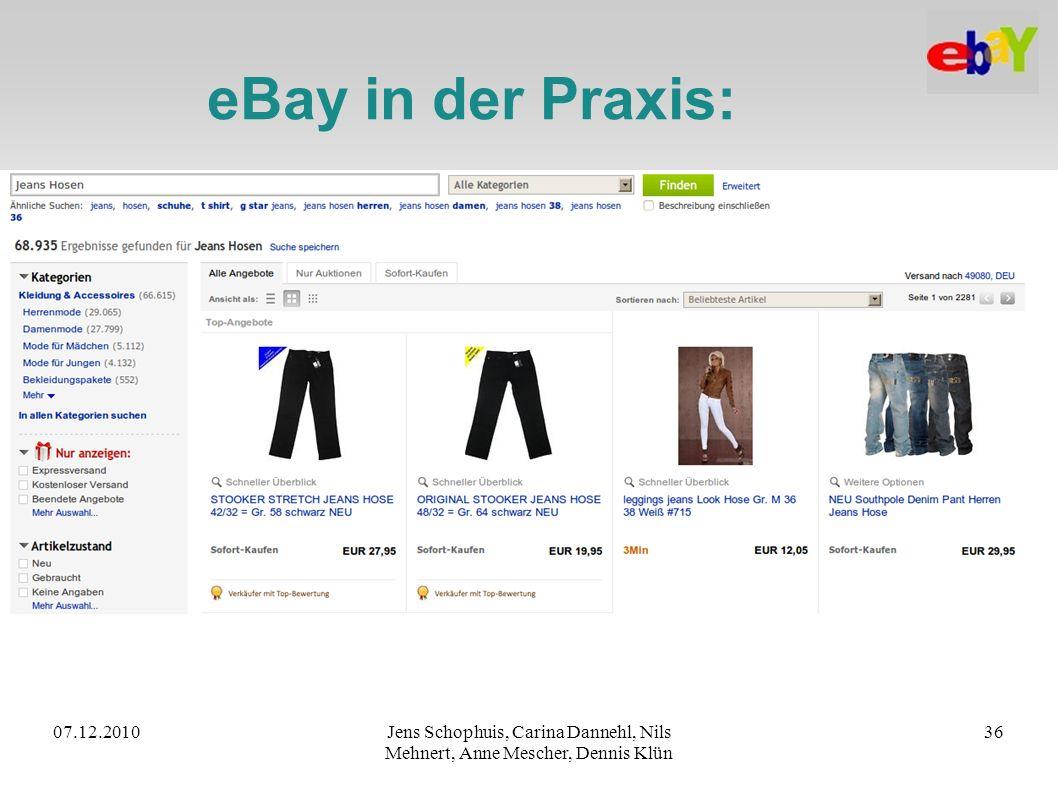 eBay in der Praxis: 07.12.2010. Jens Schophuis, Carina Dannehl, Nils Mehnert, Anne Mescher, Dennis Klün.