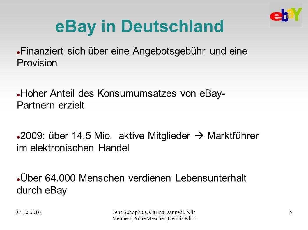 eBay in Deutschland Finanziert sich über eine Angebotsgebühr und eine Provision. Hoher Anteil des Konsumumsatzes von eBay- Partnern erzielt.