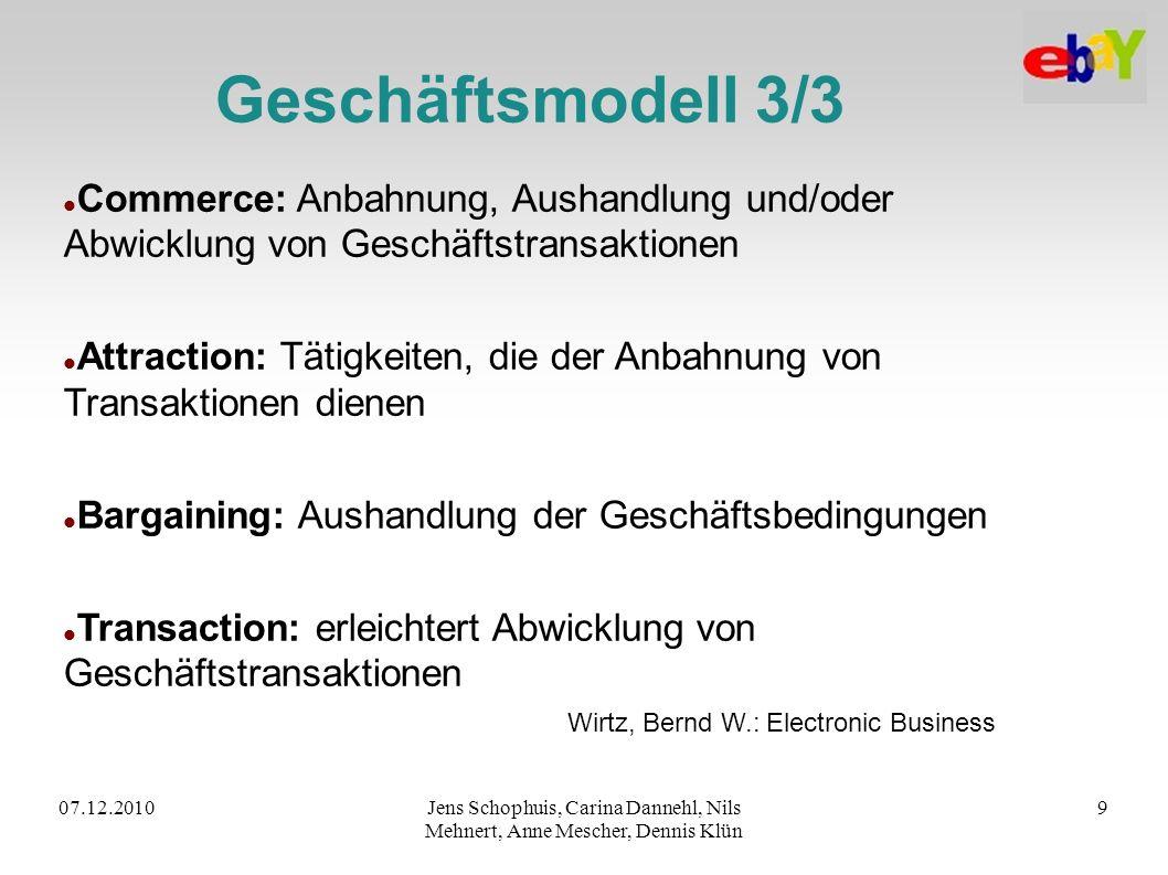 Geschäftsmodell 3/3 Commerce: Anbahnung, Aushandlung und/oder Abwicklung von Geschäftstransaktionen.