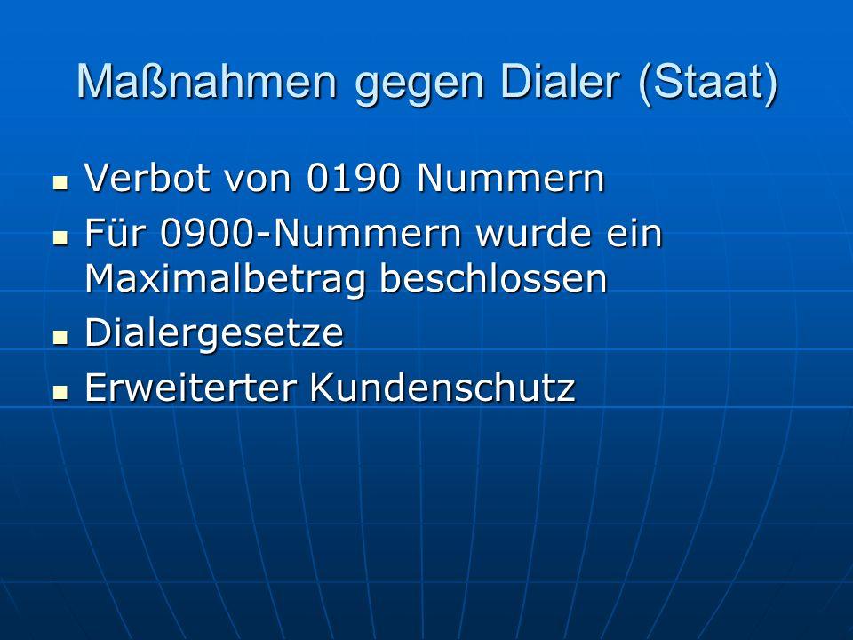 Maßnahmen gegen Dialer (Staat)