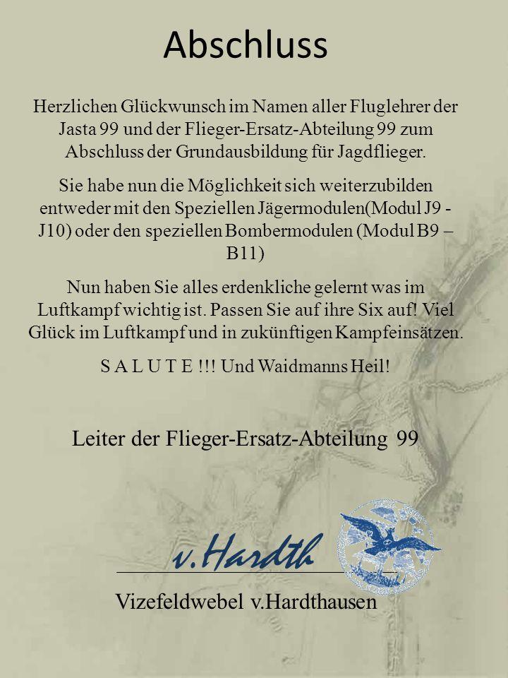 v.Hardth Abschluss Leiter der Flieger-Ersatz-Abteilung 99
