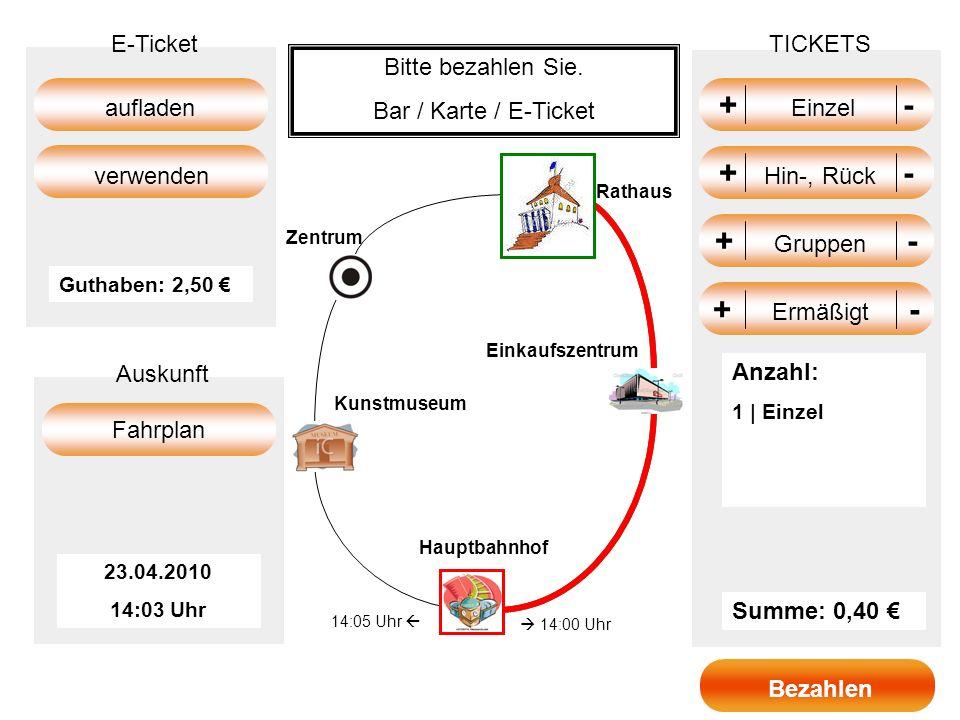 + Einzel - + Hin-, Rück - + Gruppen - + Ermäßigt - E-Ticket TICKETS