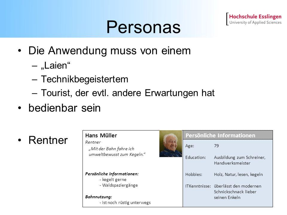 """Personas Die Anwendung muss von einem bedienbar sein Rentner """"Laien"""