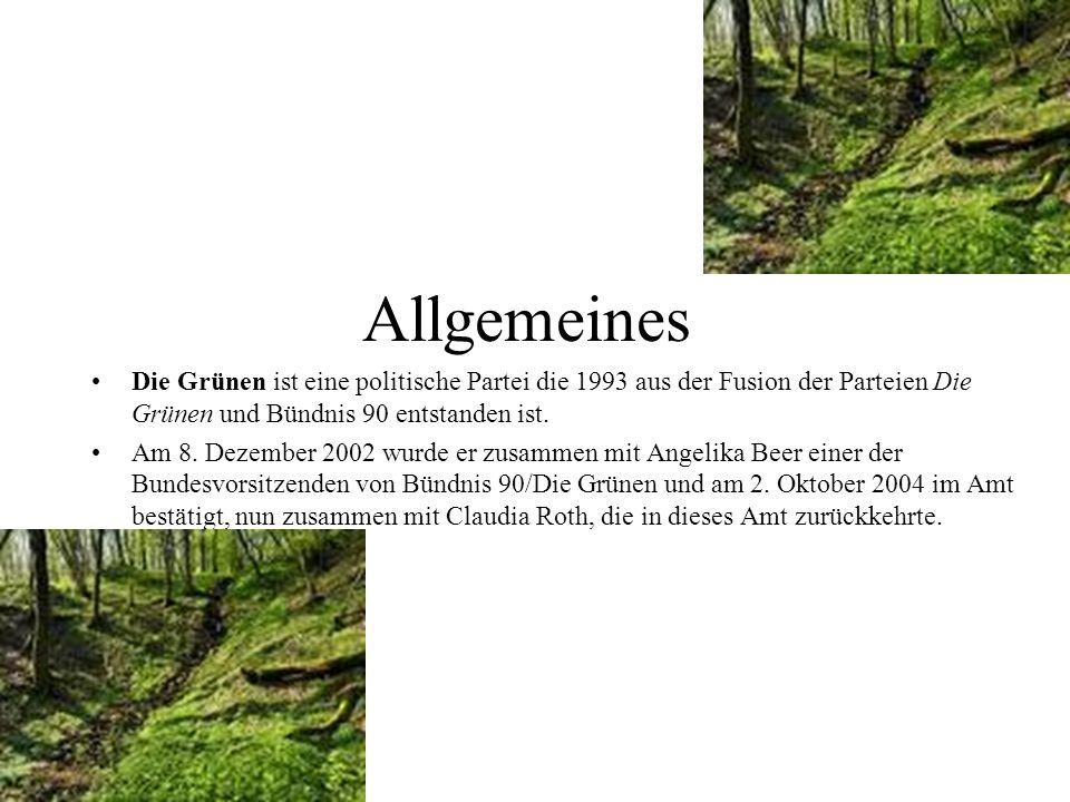 Allgemeines Die Grünen ist eine politische Partei die 1993 aus der Fusion der Parteien Die Grünen und Bündnis 90 entstanden ist.