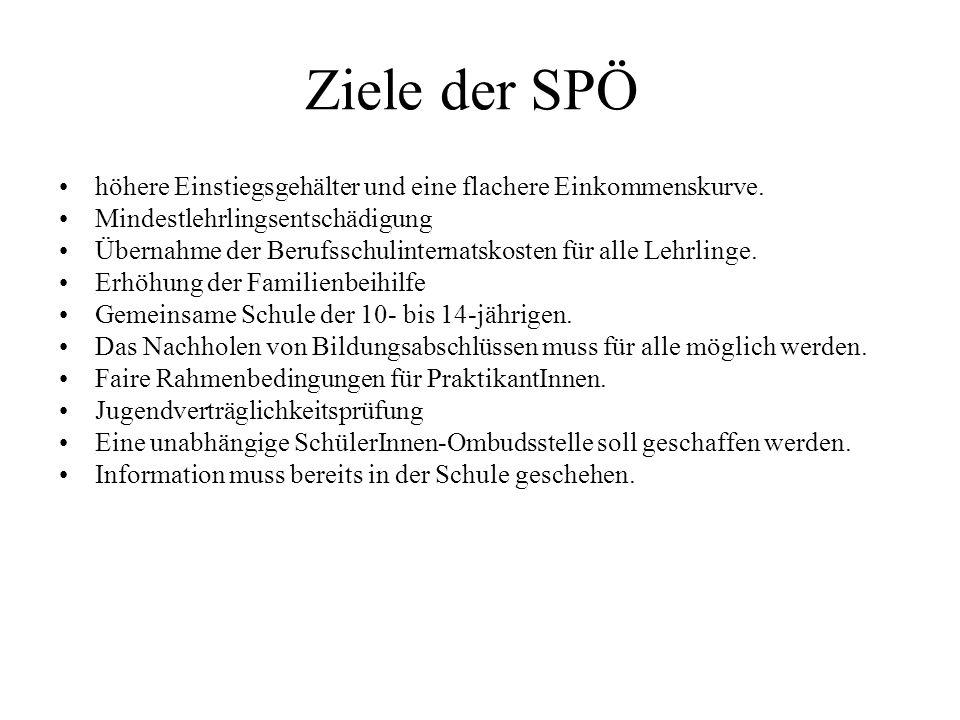 Ziele der SPÖ höhere Einstiegsgehälter und eine flachere Einkommenskurve. Mindestlehrlingsentschädigung.