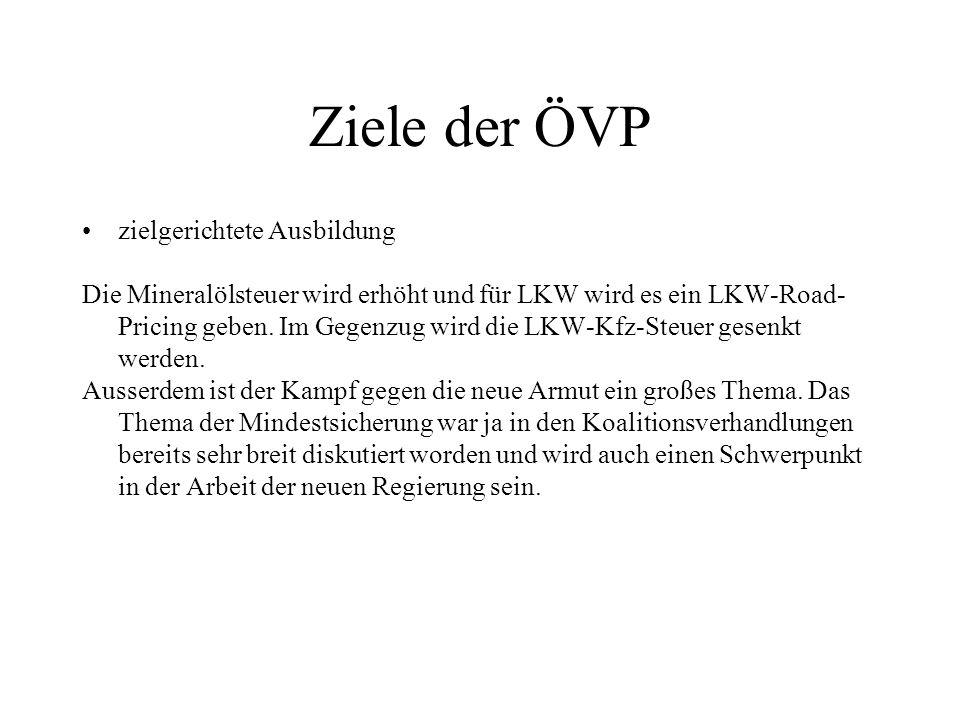 Ziele der ÖVP zielgerichtete Ausbildung