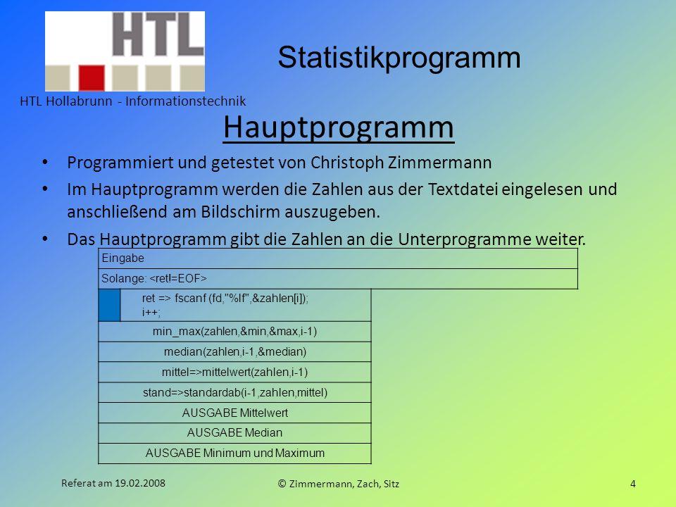 Hauptprogramm Programmiert und getestet von Christoph Zimmermann