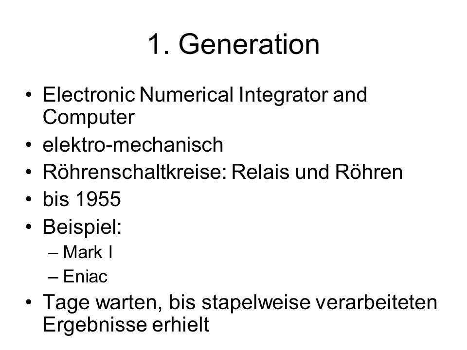 1. Generation Electronic Numerical Integrator and Computer