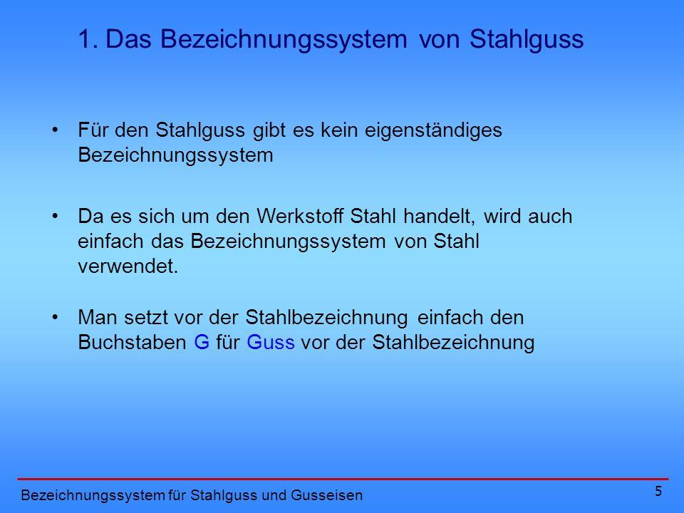 1. Das Bezeichnungssystem von Stahlguss