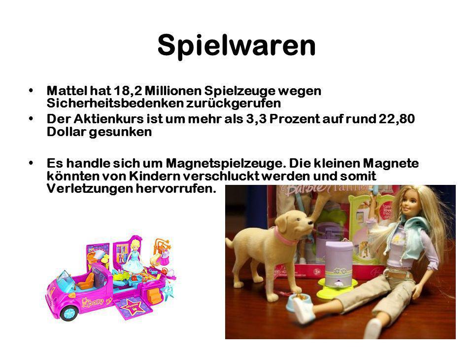 Spielwaren Mattel hat 18,2 Millionen Spielzeuge wegen Sicherheitsbedenken zurückgerufen.