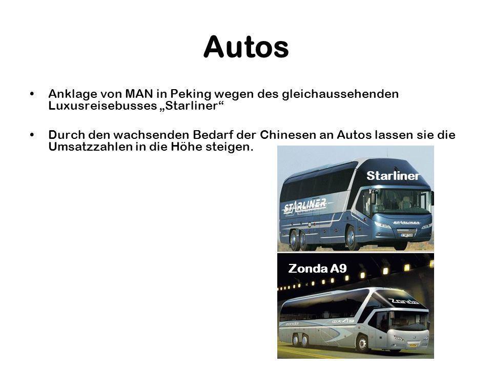 """Autos Anklage von MAN in Peking wegen des gleichaussehenden Luxusreisebusses """"Starliner"""