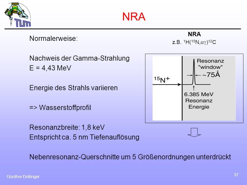NRA Normalerweise: Nachweis der Gamma-Strahlung E = 4,43 MeV