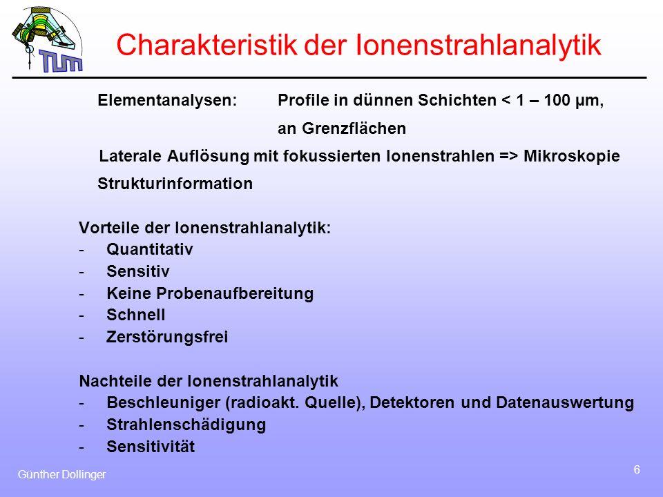 Charakteristik der Ionenstrahlanalytik