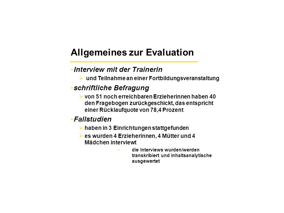 Allgemeines zur Evaluation