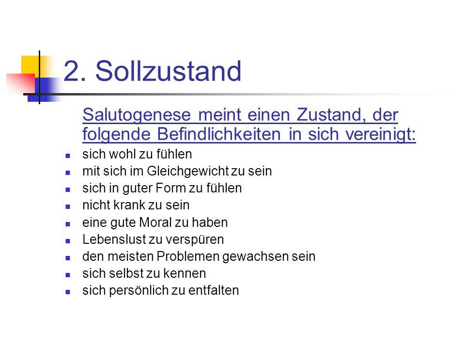 2. Sollzustand Salutogenese meint einen Zustand, der folgende Befindlichkeiten in sich vereinigt: sich wohl zu fühlen.