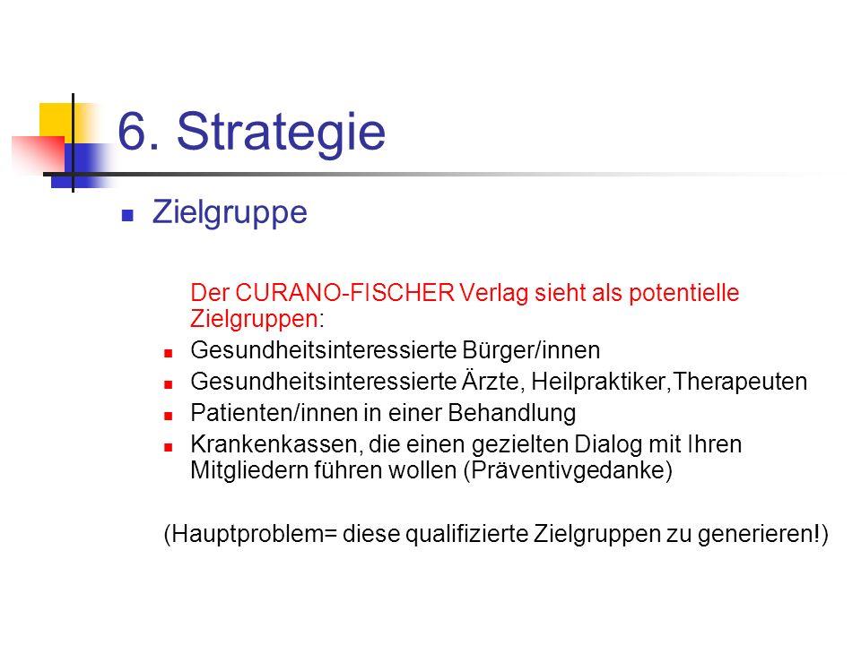 6. Strategie Zielgruppe. Der CURANO-FISCHER Verlag sieht als potentielle Zielgruppen: Gesundheitsinteressierte Bürger/innen.