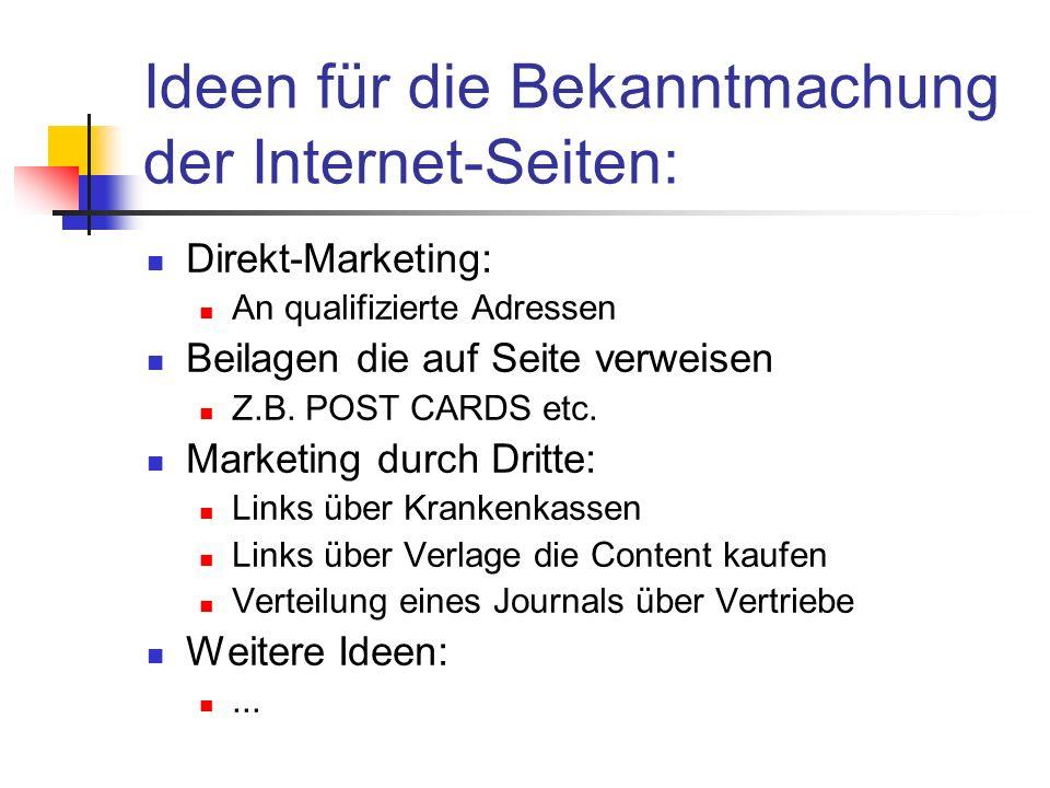 Ideen für die Bekanntmachung der Internet-Seiten: