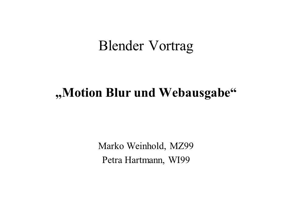 """""""Motion Blur und Webausgabe Marko Weinhold, MZ99 Petra Hartmann, WI99"""