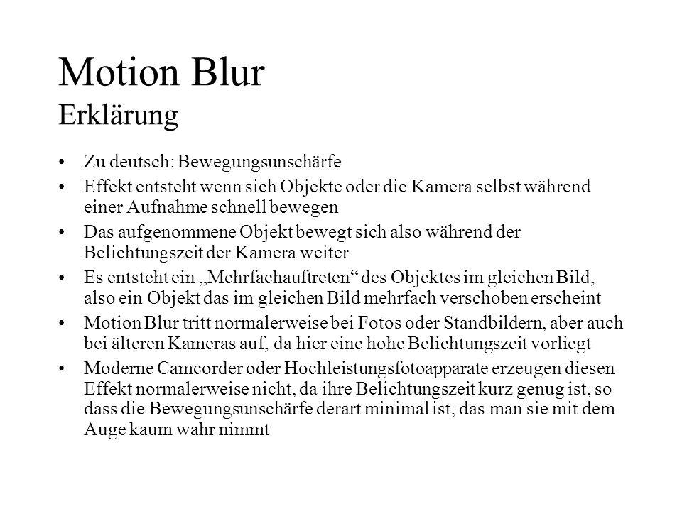 Motion Blur Erklärung Zu deutsch: Bewegungsunschärfe