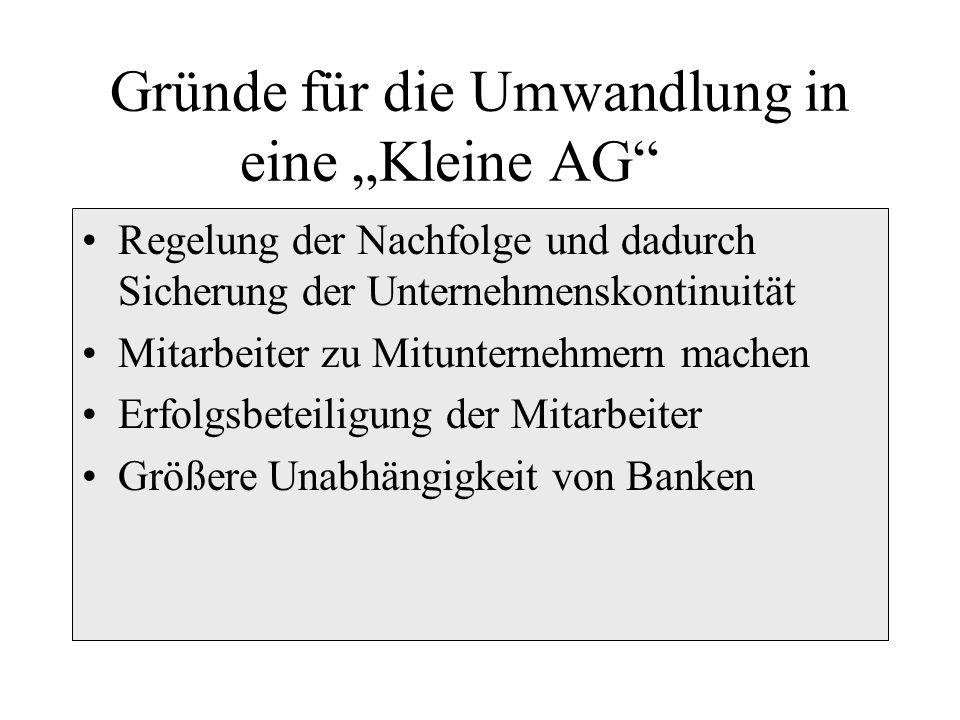 """Gründe für die Umwandlung in eine """"Kleine AG"""