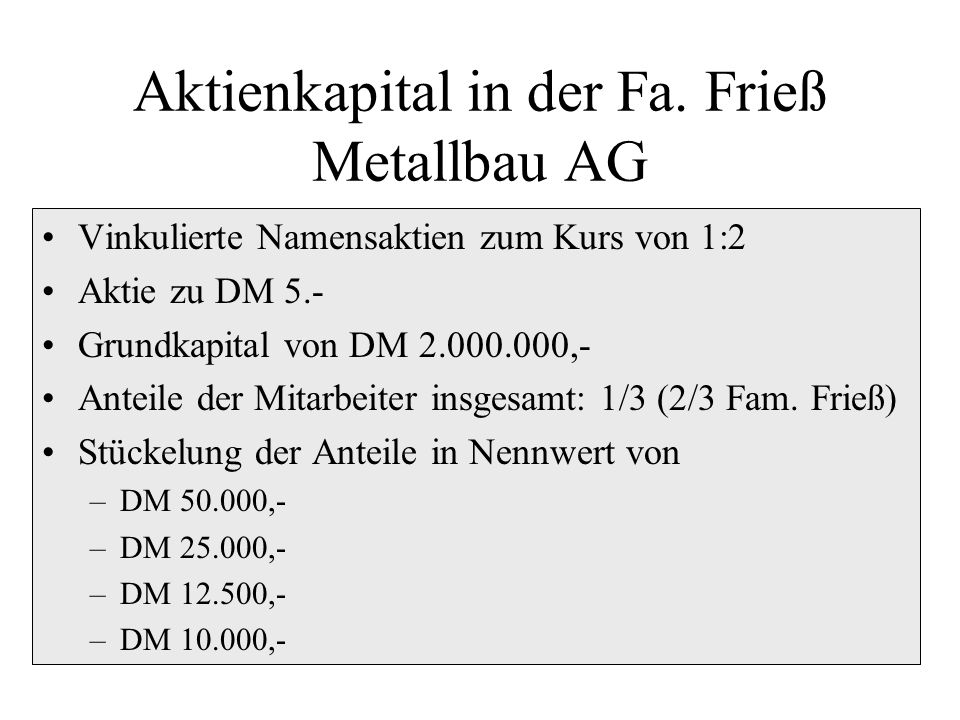 Aktienkapital in der Fa. Frieß Metallbau AG
