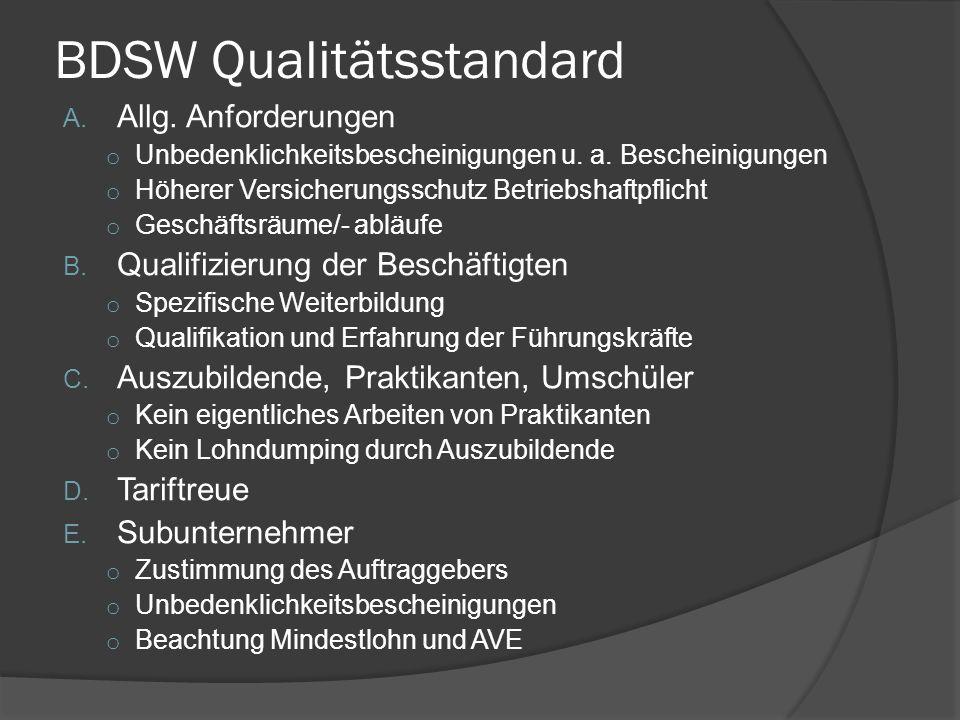 BDSW Qualitätsstandard
