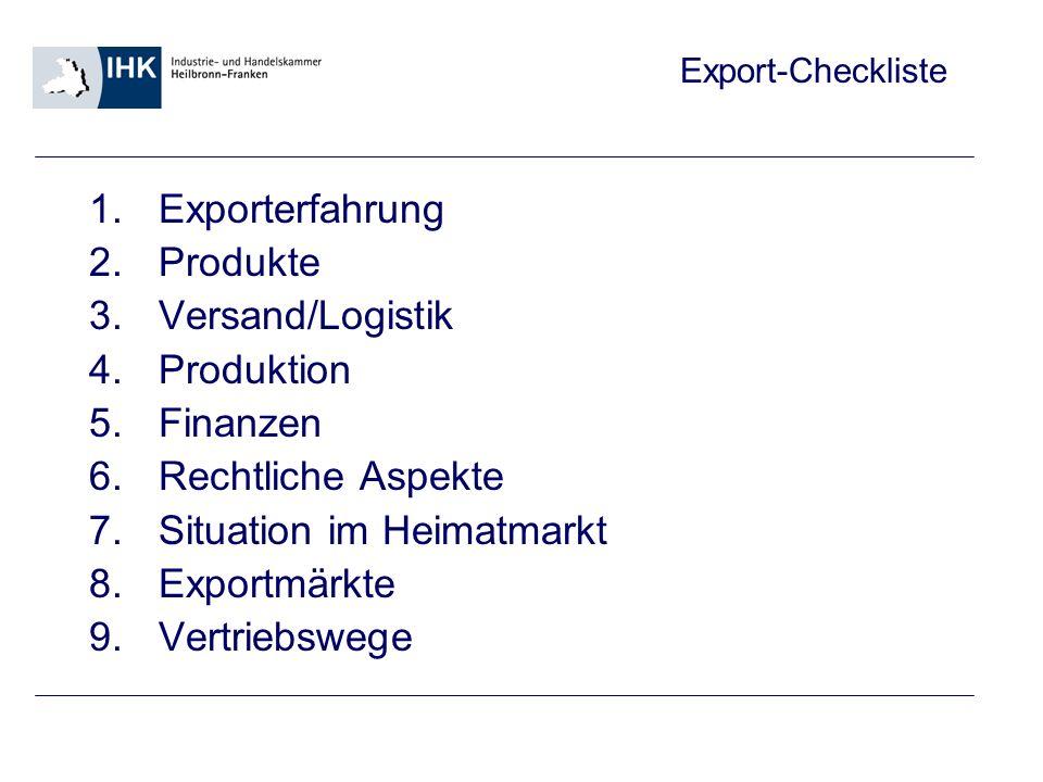 Exporterfahrung Produkte. Versand/Logistik. Produktion. Finanzen. Rechtliche Aspekte. Situation im Heimatmarkt.