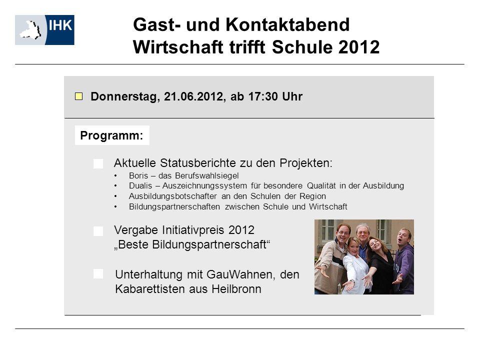 Gast- und Kontaktabend Wirtschaft trifft Schule 2012