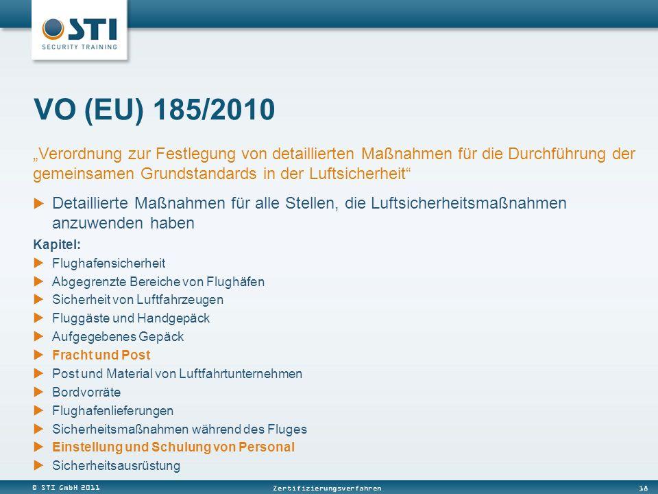 """VO (EU) 185/2010 """"Verordnung zur Festlegung von detaillierten Maßnahmen für die Durchführung der gemeinsamen Grundstandards in der Luftsicherheit"""