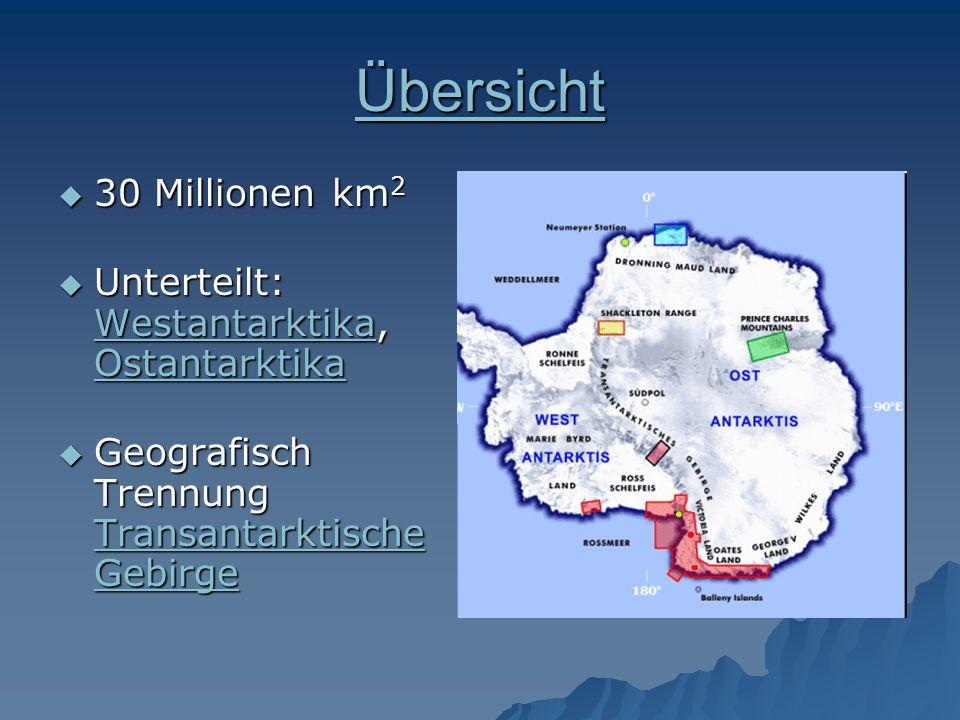 Übersicht 30 Millionen km2 Unterteilt: Westantarktika, Ostantarktika