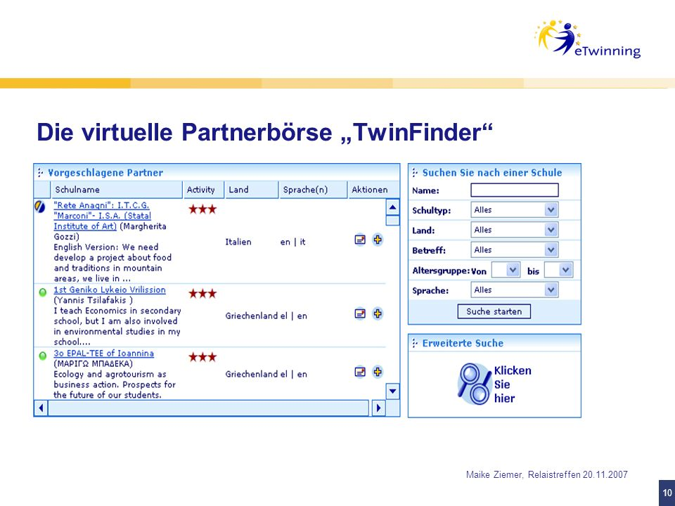 "Die virtuelle Partnerbörse ""TwinFinder"
