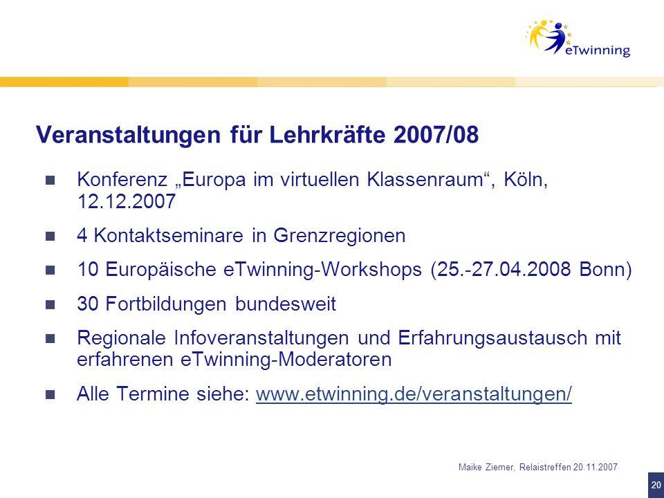 Veranstaltungen für Lehrkräfte 2007/08