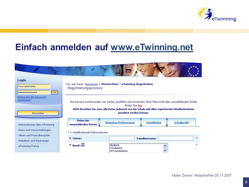 Einfach anmelden auf www.eTwinning.net