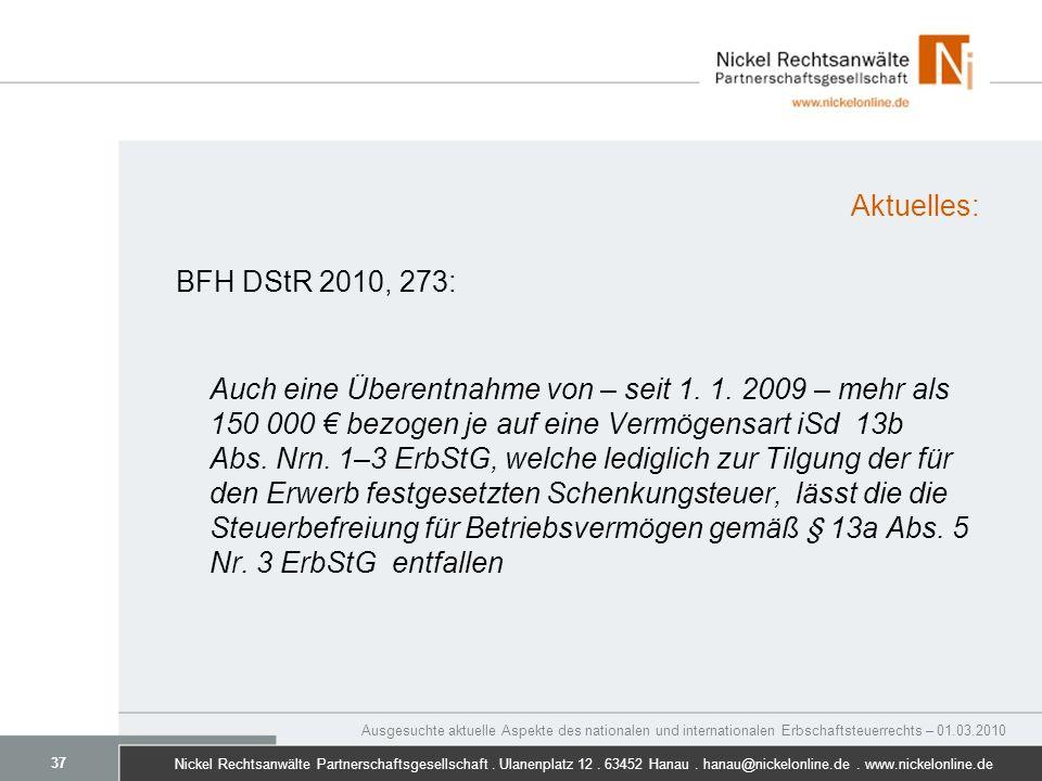 Aktuelles: BFH DStR 2010, 273: