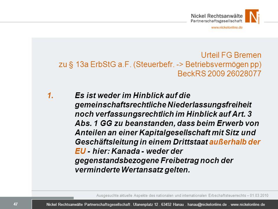 Urteil FG Bremen zu § 13a ErbStG a. F. (Steuerbefr