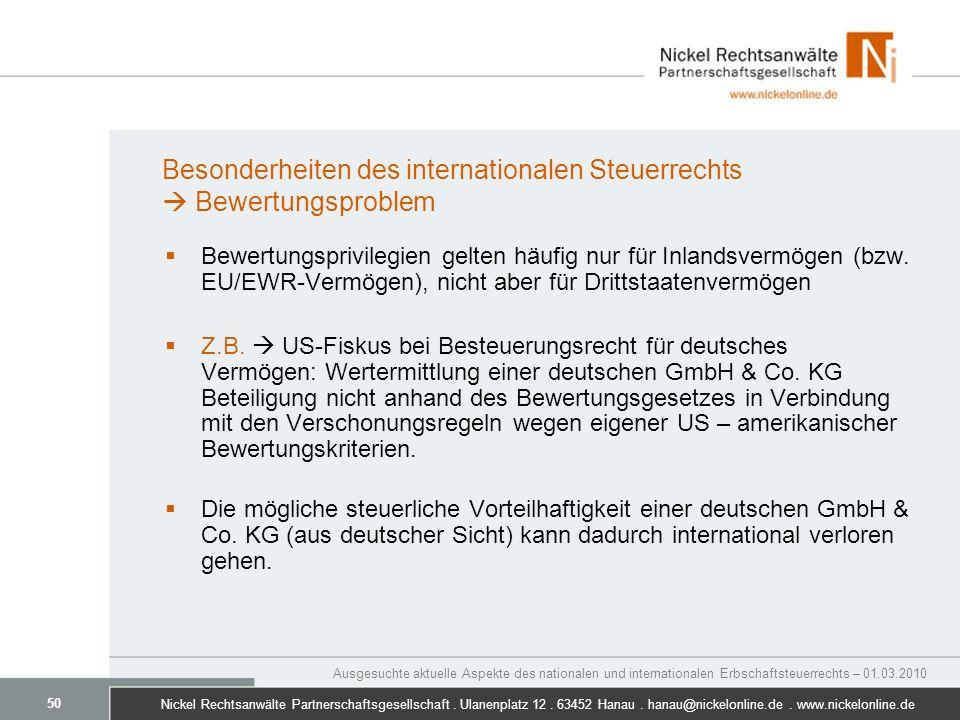 Besonderheiten des internationalen Steuerrechts  Bewertungsproblem
