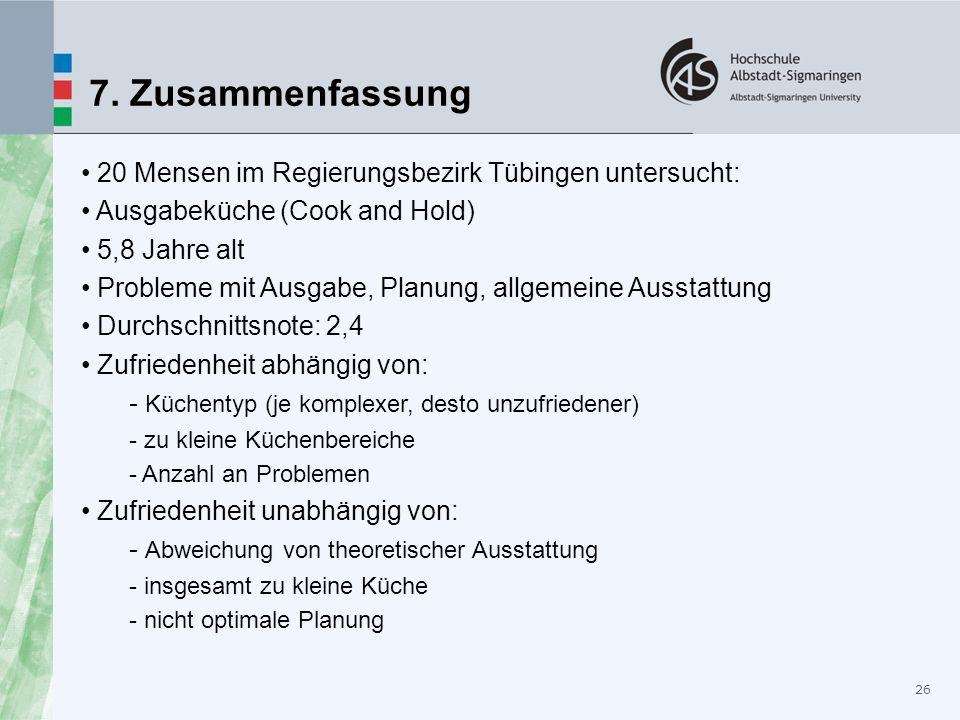 7. Zusammenfassung 20 Mensen im Regierungsbezirk Tübingen untersucht: