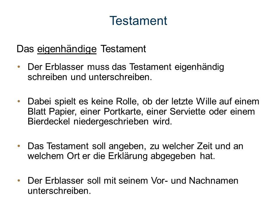 Testament Das eigenhändige Testament